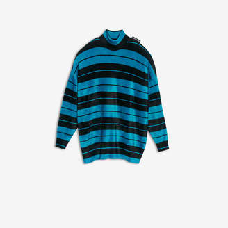 Balenciaga Turtleneck in black and blue striped velvet knit