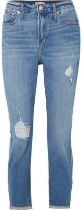 Madewell The High-rise Slim Boyjean Distressed Jeans - Mid denim