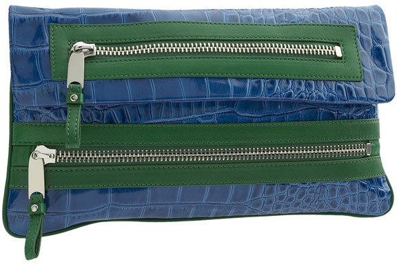 Cynthia Rowley 'Lydia' Two Tone Croc Embossed Clutch