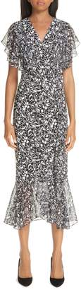 Michael Kors Painterly Floral Belted Ruffle Trim Dress