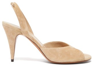 The Row Swing Suede Slingback Sandals - Womens - Beige