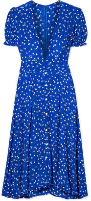 Faithfull The Brand Farah Tie-detailed Floral-print Crepe Midi Dress - Cobalt blue