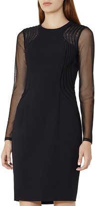 REISS Robbi Mesh-Sleeve Cocktail Dress $370 thestylecure.com