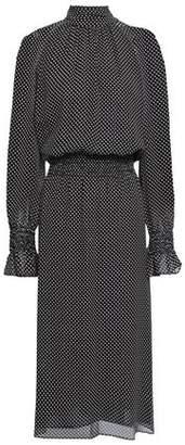 Tory Burch Shirred Printed Silk-georgette Midi Dress