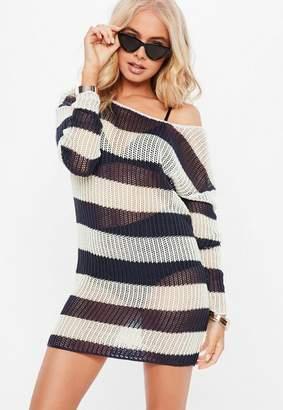 Missguided Navy Stripe Crochet Oversized Sweater