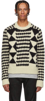 Saint Laurent Black and White Multi Pattern Sweater