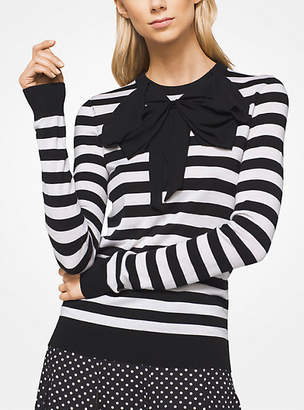 Michael Kors Striped Tropical Cashmere Bow Pullover