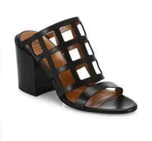 Aquatalia Federica Laser-Cut Leather Block Heel Mules