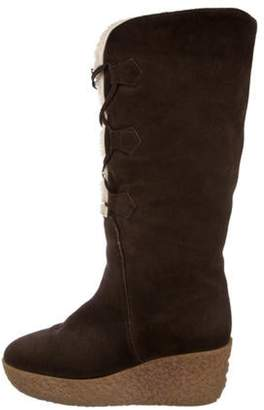 Michael Kors Suede Mid-Calf Boots Brown Suede Mid-Calf Boots