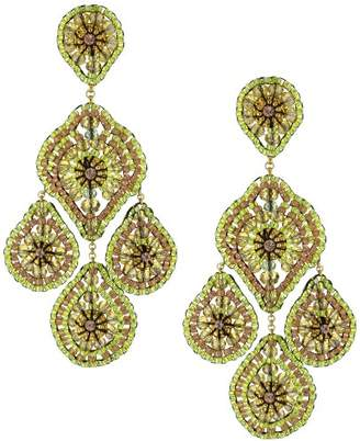Miguel Ases Peridot-Color Bead and Swarovski 14k Gold Filled Drop Earrings