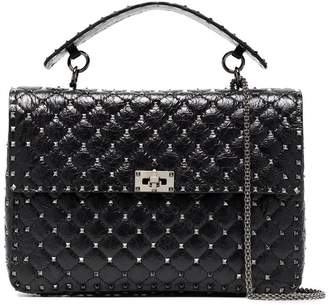 Valentino black Rockstud Spike maxi cracked leather tote