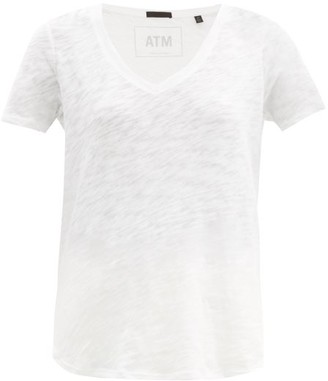 Atm - V Neck Slub Cotton Jersey T Shirt - Womens - White