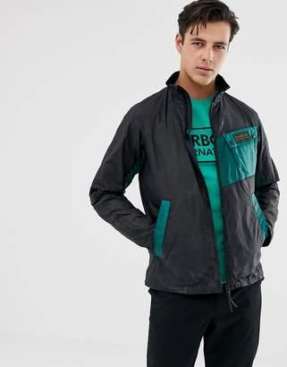International colour block wax jacket in black