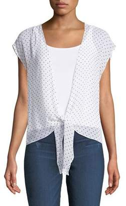 Bailey 44 Happy Together Dot-Print Tie-Front Top