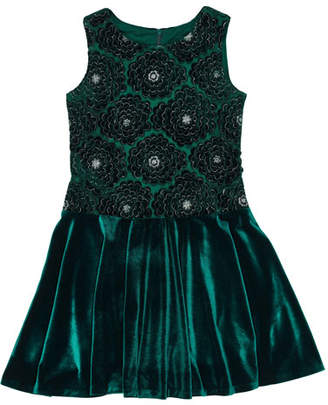 Florence Eiseman Stretch Velvet Lace-Overlay Sleeveless Dress, Size 7-12