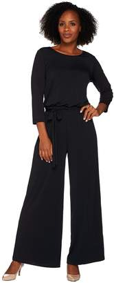 Joan Rivers Classics Collection Joan Rivers Regular Length Jersey Knit Jumpsuit with 3/4 Sleeves