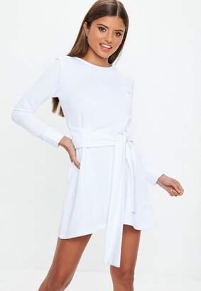 Missguided Tie Waist Sweater Dress