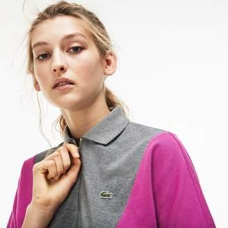 Lacoste Women's Zip Neck Colorblock Terrycloth Pique Polo