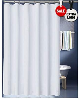 LanMeng Solid White Fabric Shower Curtain Liner
