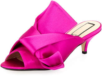 No.21 No. 21 Pleated Satin Slide Mule Sandal, Hot Pink