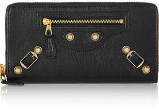 Balenciaga Giant Studded Textured-leather Wallet