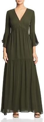 Badgley Mischka Silk Ruffled Maxi Dress