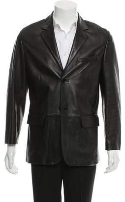 Theory Leather Two-Button Blazer