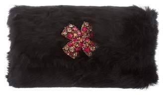 Oscar de la Renta Fur Embellished Clutch w/ Tags