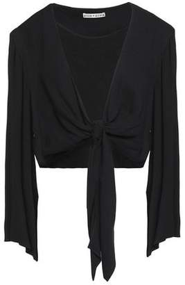 Alice + Olivia Alice+olivia Cropped Knot-Detailed Draped Jersey Top