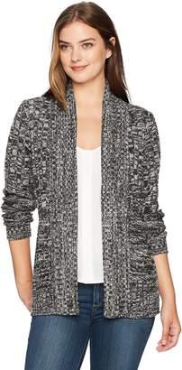 Jason Maxwell Women's Plus Size Long Sleeve Marled Mix-Stich Roll Back Collar Cardigan