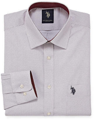 U.S. Polo Assn. USPA Dress Shirt Mens Spread Collar Long Sleeve Stretch Dress Shirt - Slim