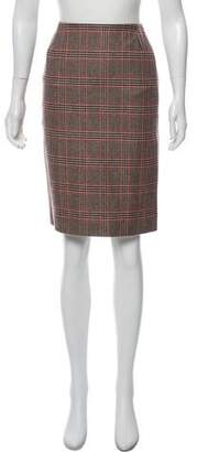 Oscar de la Renta Glen Plaid Cashmere Knee-Length Skirt