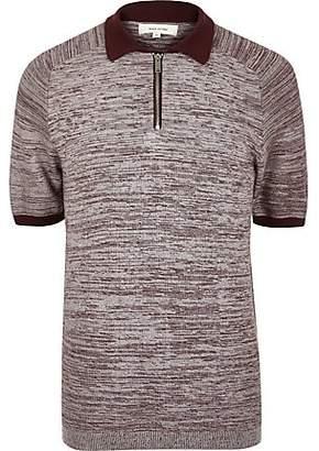 River Island Burgundy textured zip-up polo shirt