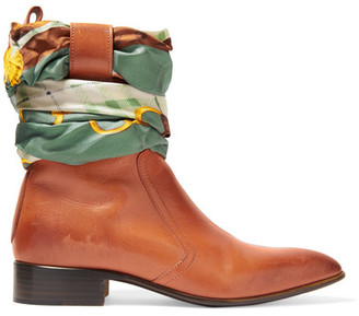 Maison Margiela - Satin Twill-trimmed Burnished Leather Ankle Boots - Tan $1,195 thestylecure.com