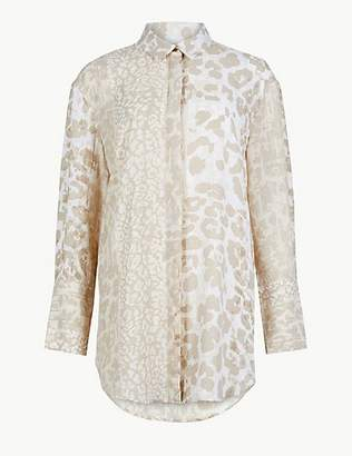 M&S Collection Animal Print Longline Long Sleeve Shirt