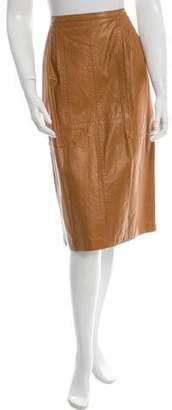 Dries Van Noten Leather Knee-Length Skirt