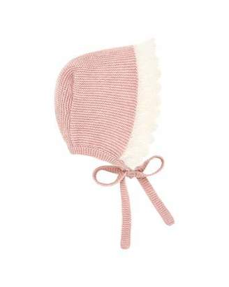 Carrera Pili Two-Tone Knit Baby Bonnet with Mohair Trim
