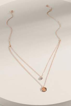 francesca's Francine Coin Pendant Layered Necklace - Rose/Gold