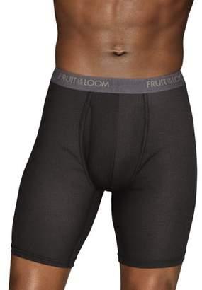 Fruit of the Loom Men's EverLight Long Leg Black and Gray Boxer Briefs, 3 Pack