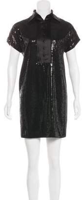 Robert Rodriguez Silk-Trimmed Sequin Dress