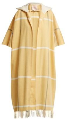 Roksanda Leisha Hooded Checked Wool Coat - Womens - Yellow