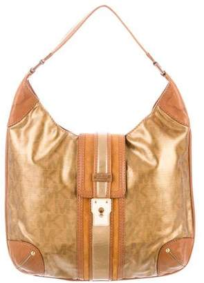 Michael Kors Metallic Monogram Hobo