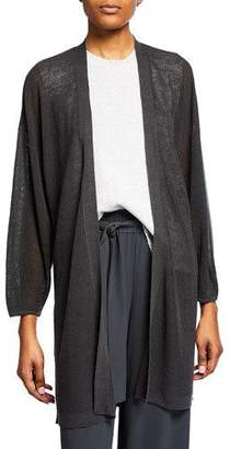 Eileen Fisher Plus Size Organic Linen Blouson-Sleeve Long Cardigan