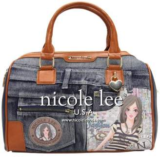Nicole Lee Wanda Denim Print Satchel Bag