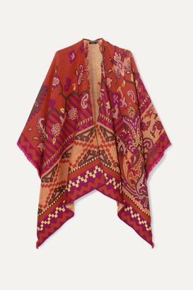 Etro Wool, Cotton And Modal-blend Jacquard Wrap - Orange