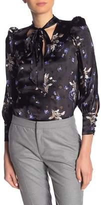 Rebecca Taylor V-Neck Floral Print Neck Tie Blouse