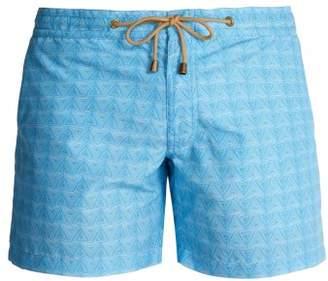 Thorsun - Titan Fit Triangle Print Swim Shorts - Mens - Blue