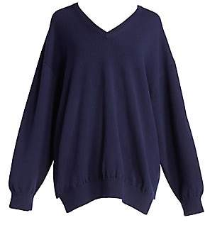 Balenciaga Women's Logo Script Cashmere V-Neck Sweater