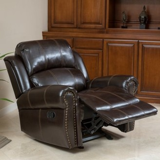 Noble House Mitchell Dark Brown Faux Leather Gliding Recliner