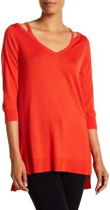 Joan Vass Open V-Neck Sweater